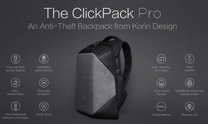 Korin Design Clickpack Pro Anti-Theft Backpack